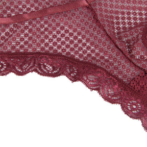 Dark Red Lace Out Ladies' Panty
