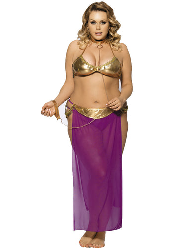 Plus Golden Tops And Purple Dress Lingerie With Neck Ring