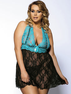 Halter Sheer Blue And Black Lace Plus Size Babydoll