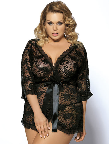 Black Half Long Sleeve Lace Plus Size Women Lingerie