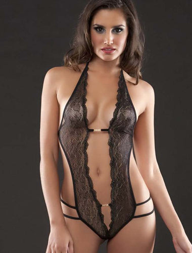 Plus Size Crotchless Black Lace Teddy