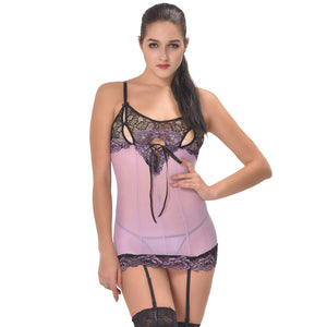 Cross-Dye Lace Peek-A-Boo Cup Chemise