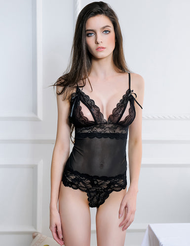 Cranberry And Black Lace Teddy Lingerie
