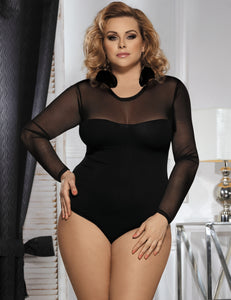 Black Plus Size Long Sleeve Teddy With Yarn
