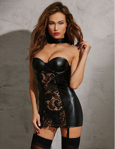Commanding Black Collared Chemise