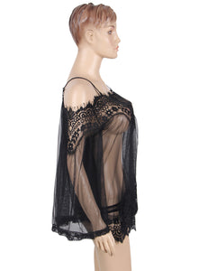 Sheer Floral Lace Tunic Black