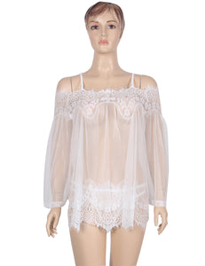 Sheer Floral Lace Tunic White