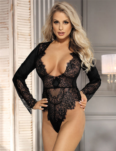 Black Long Sleeve Exquisite Lace Teddy