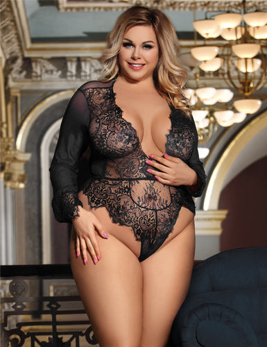 Plus Size Black Exquisite Lace Sleeve Teddy