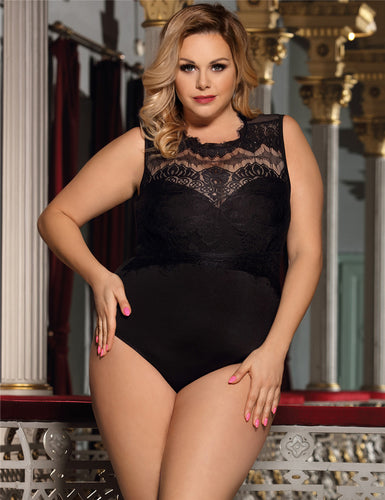 Plus Size Black Floral Embroidery Lace Sexy Teddy