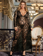 Plus Size Black Sheer Lace Kaftan Robe with Thong
