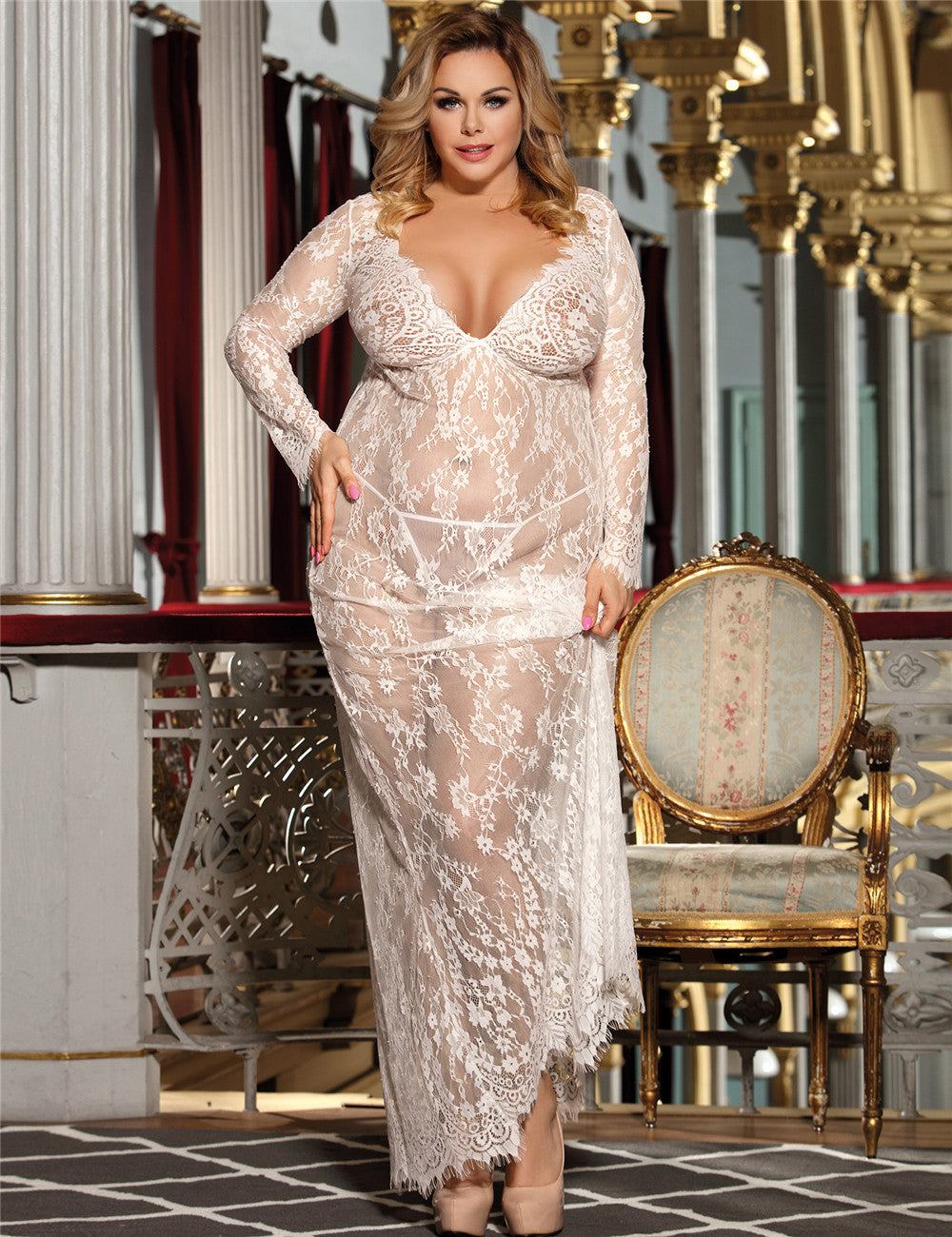 Plus Size White Sheer Lace Kaftan Robe with Thong