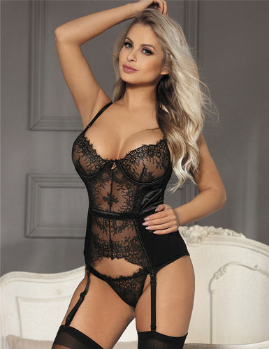 Seduction Black Lace Transparente Sexy Babydoll