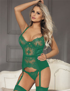 Seduction Green Lace Transparente Sexy Babydoll