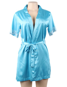 Blue Silk Satin Lace Backless Sexy Women Kimono Home Pajamas
