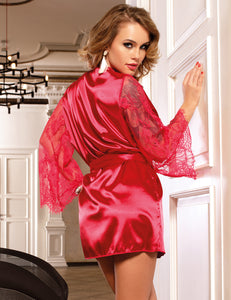 Wine Red Silk Satin Lace Sexy Women Kimono Home Pajamas