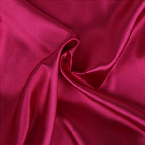 Plus Size Wine Red Silk Satin Lace Sexy Women Kimono Home Pajamas