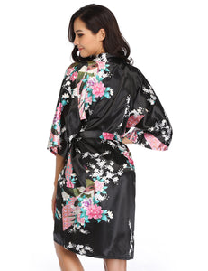Flower And Bird Short Kimono Black Satin Wrap Pajamas