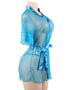 Plus Size Wholesale Blue Sexy Lace Transparent Nighties