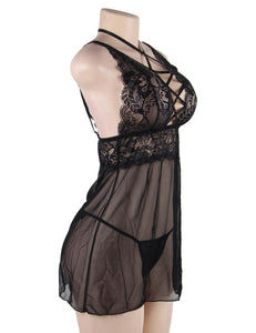 Plus Size Elegant Black Lace straps Backless Babydoll Set