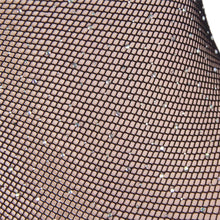 Plus Size Black Long Sleeve Fishnet Off-the-shoulder Sparkle Bodysuit