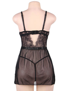 Plus Size Elegant Black Lace Straps Backless Babydoll Set With Steel Ring