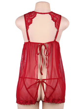Plus Size Elegant Red Lace Straps Backless Babydoll Set