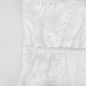 Plus Size White Delicate Emboss Lace Teddy
