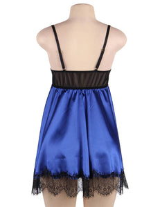 Plus Size Blue Satin Eyelash Lace Stitching Sexy Babydoll With Eyepatch