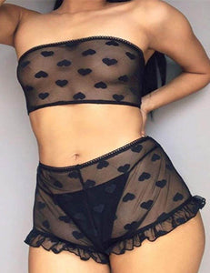 Plus Size Perspective Sexy Women High Waist Black Lace Bra Panty