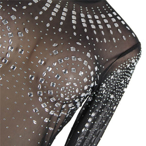 High Neck Long Sleeveled Mesh Rhinestone Sexy Transparent skirt