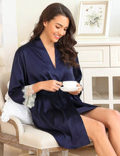 Dark Blue Silk Satin Lace SpliceSexy Women Two-piece Home Pajamas