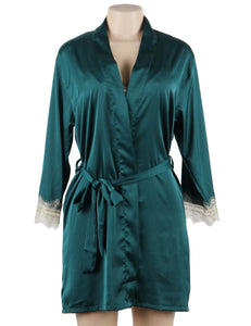 Green Silk Satin Lace SpliceSexy Women Two-piece Home Pajamas