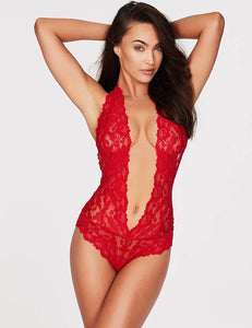 Red Backless Deep V Exquisite Lace Teddy