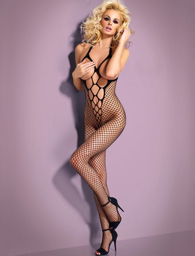 Halter Neck Black Lace Open Cup Bodystocking