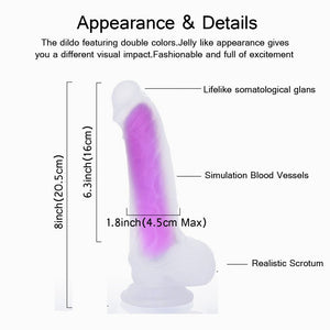Liquid Silicone Dildo - 8 Inch Silicone Dildo with Strong Suction Cup