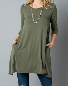 Olive Swing Tunic with Pockets