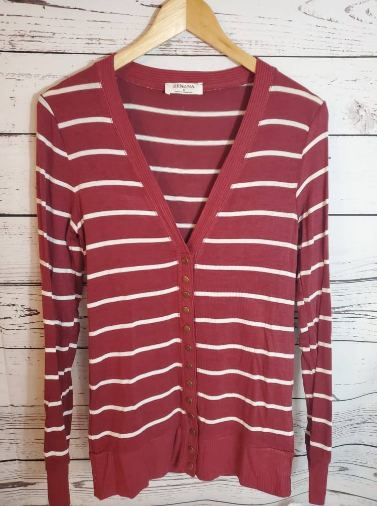Striped Snap Button Cardi - Maroon