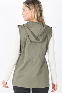 Military Hoodie Vest with Pockets - Light Olive