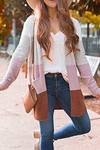 Long Striped Knit Cardigan