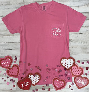 Hearts Comfort Colors Pocket Tee