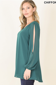 Woven Split Sleeve Chiffon Blouse - Deep Green
