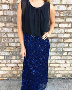 Blue Sequin Maxi Dress