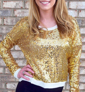 Gold Sequin Long Sleeve Top