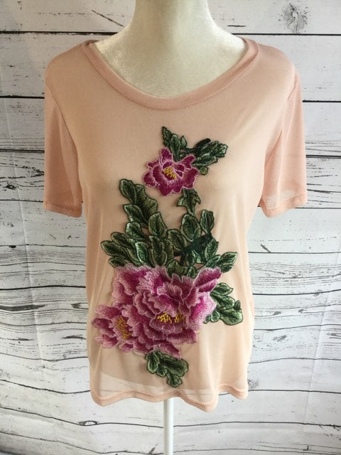 Pink Mesh Tee with Rose Applique