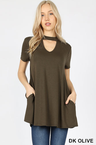 Dark Olive Choker Neck Top