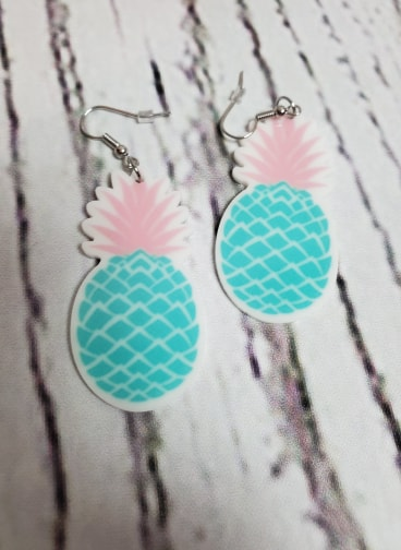 Teal Pineapple Earrings