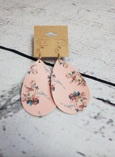 Faux Leather Earrings - Pink Floral