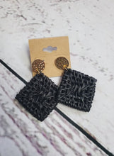 Woven Textured Square Earrings