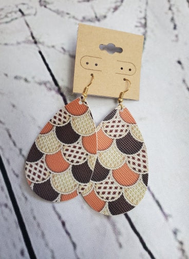 Faux Leather Earrings - Neutral Scales